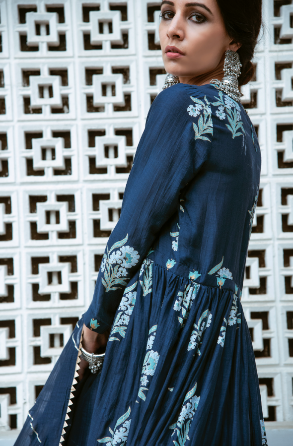 BLUE BLOCK PRINTED LONG KURTA PALAZZO SET