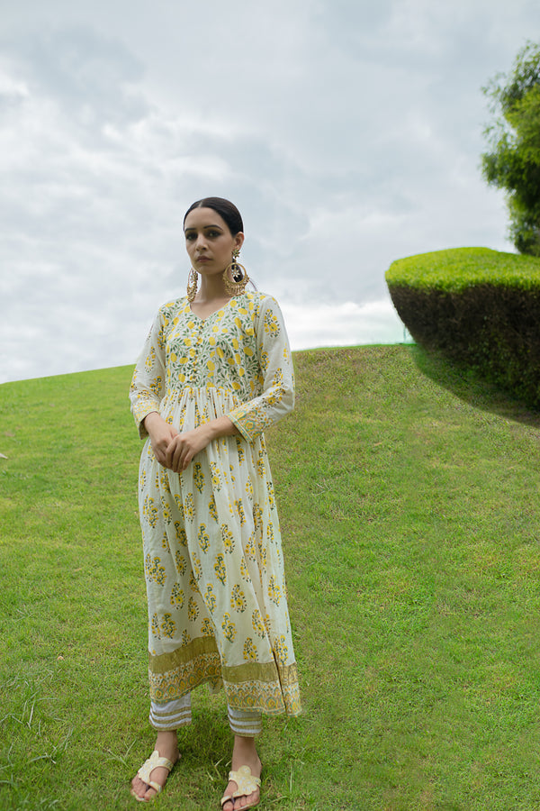 YELLOW BLOCK PRINTED ANARKALI SUIT SET Of 3