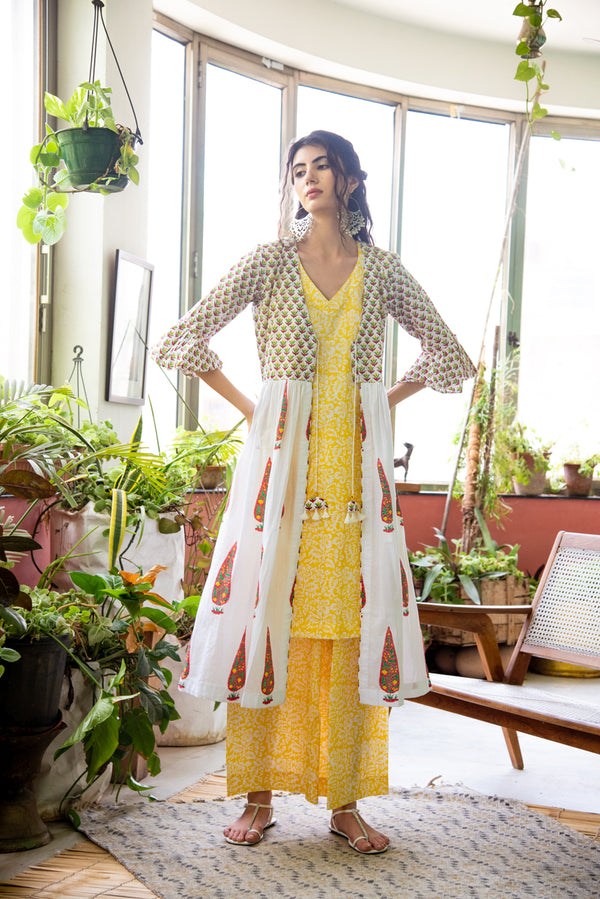 Yellow Chinar Kurta Palazzo with Jacket