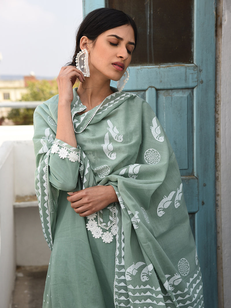 Green Flared Palazzo and Kurta Set - Set of 3