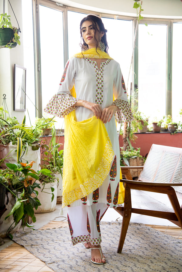 Yellow Red Chinar Print Kurta Set of 3