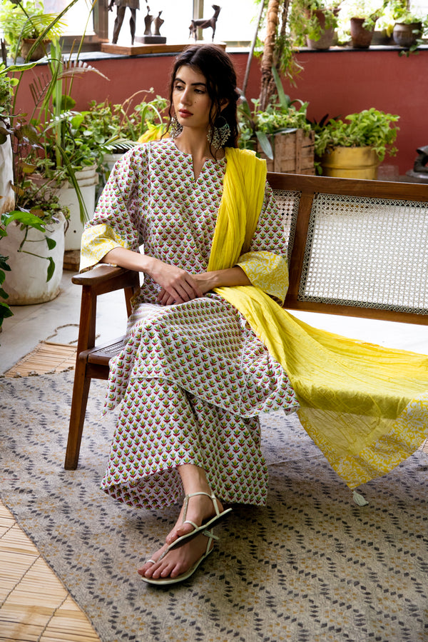 Yellow Kaftan Style Kurta Set of 3