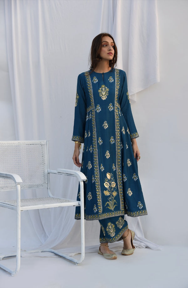 Teal Foil Print Anarkali Set of 3