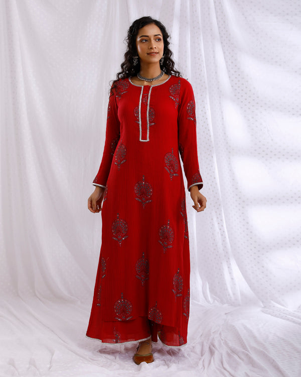 RED BLOCK PRINTED SEQUINS EMBROIDERED STRAIGHT KURTA SET OF 2