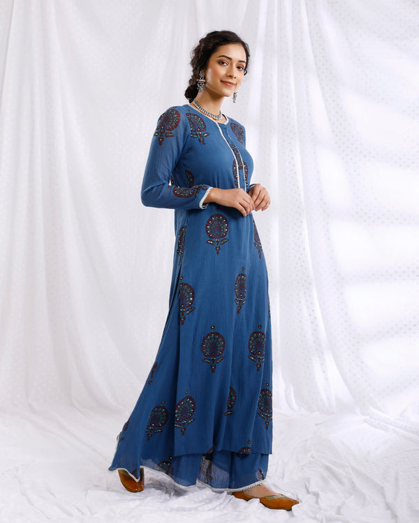BLUE BLOCK PRINTED SEQUINS EMBROIDERED STRAIGHT KURTA SET OF 2