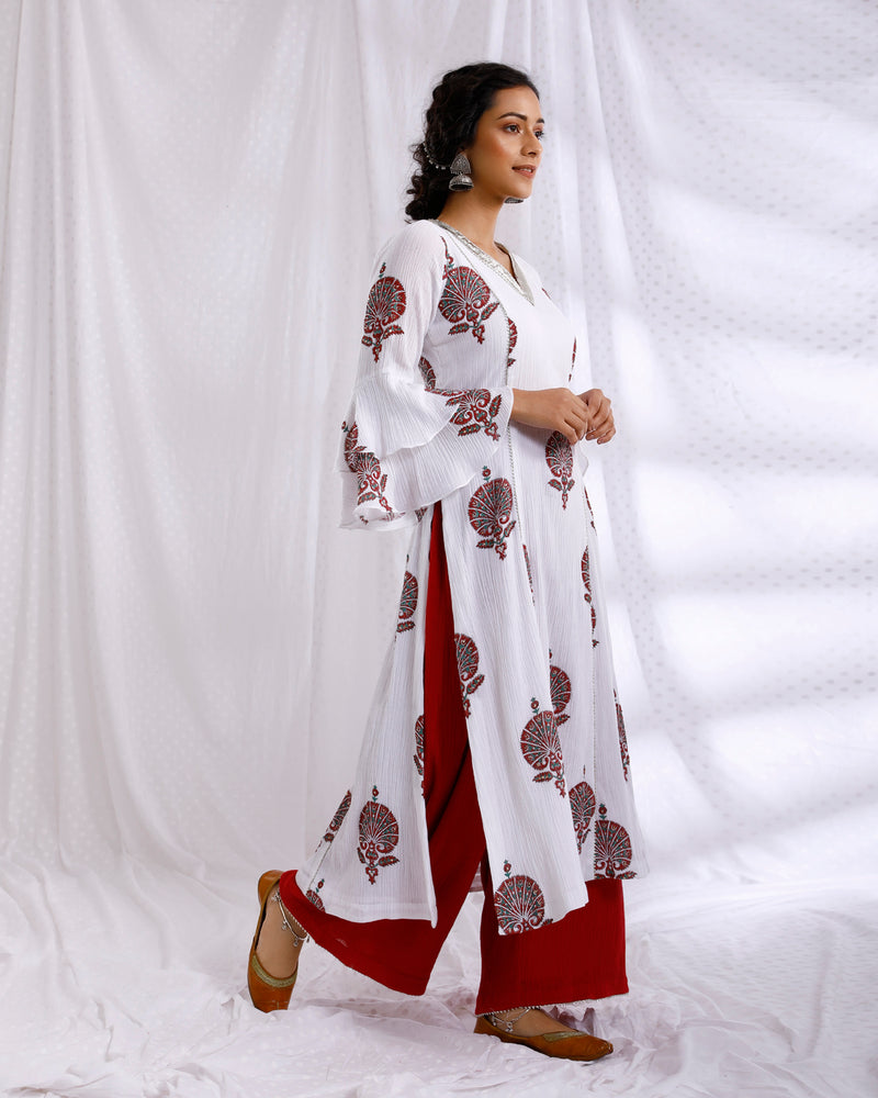 WHITE & RED BLOCK PRINTED BELL SLEEVE SEQUINS EMBROIDERED KURTA WITH SOLID CRINKLED PALAZZO SET OF 2