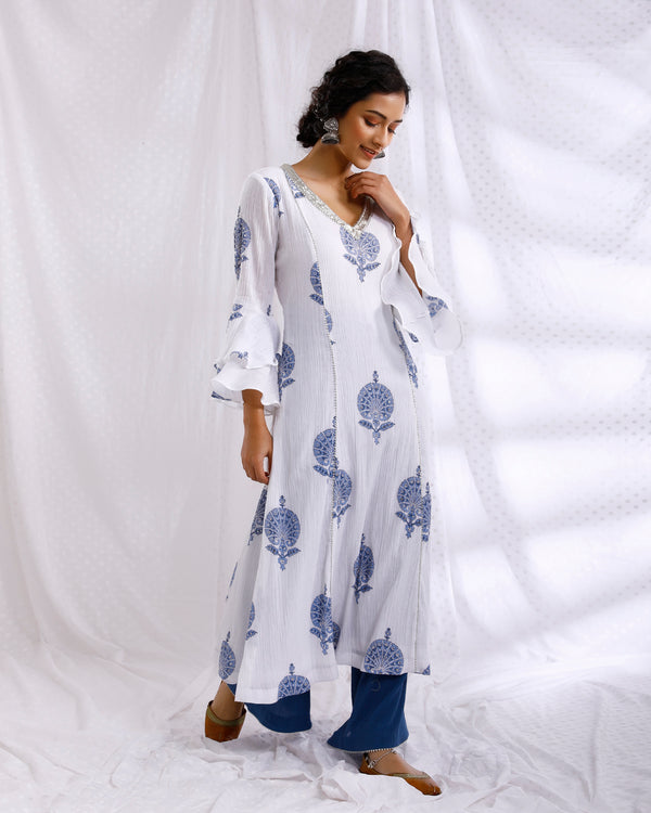WHITE & BLUE BLOCK PRINTED BELL SLEEVE SEQUINS EMBROIDERED KURTA WITH SOLID CRINKLED PALAZZO SET OF 2