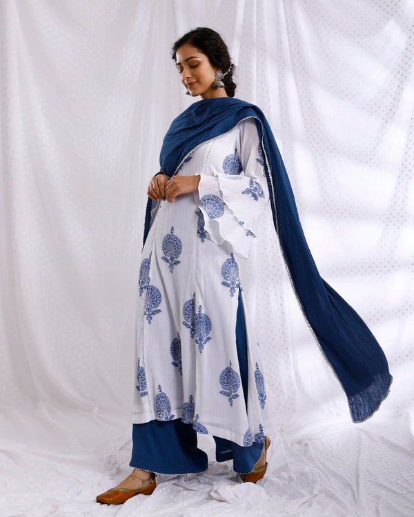 WHITE & BLUE BLOCK PRINTED BELL SLEEVE SEQUINS EMBROIDERED KURTA WITH SOLID CRINKLED PALAZZO SET OF 3
