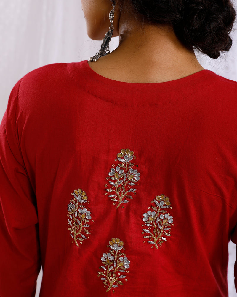 RED HAND EMBROIDERED KURTA WITH GOTA FLARED PALAZZO & DUPATTA SET OF 2
