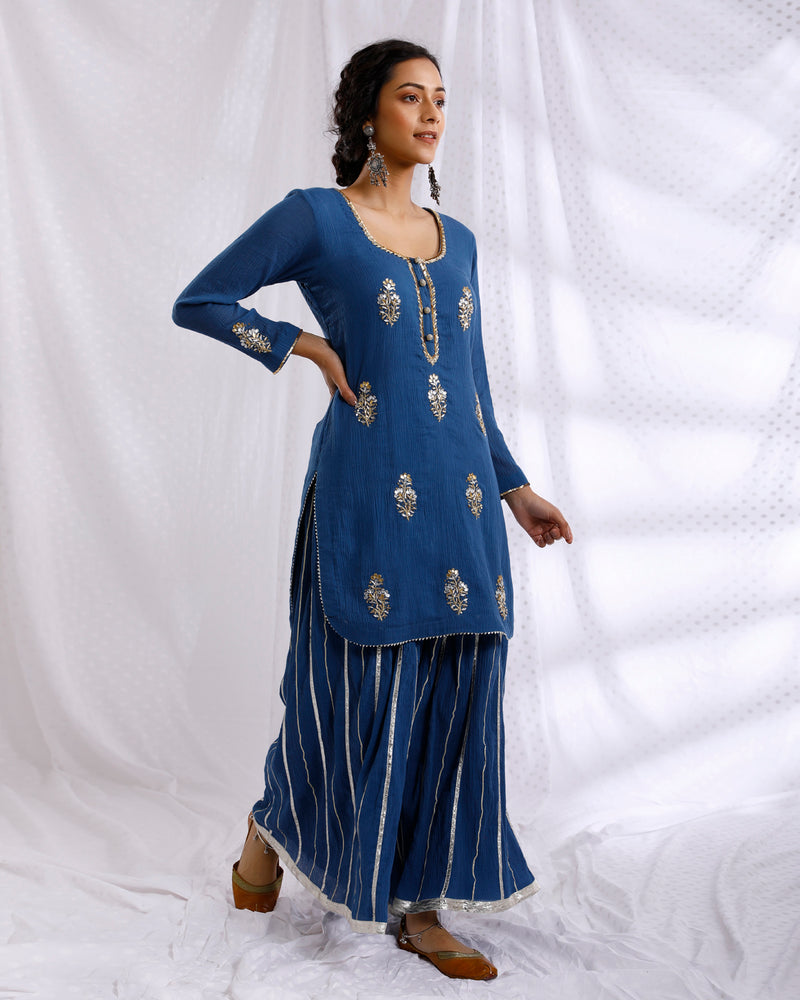 BLUE HAND EMBROIDERED KURTA WITH GOTA FLARED PALAZZO & DUPATTA SET OF 3