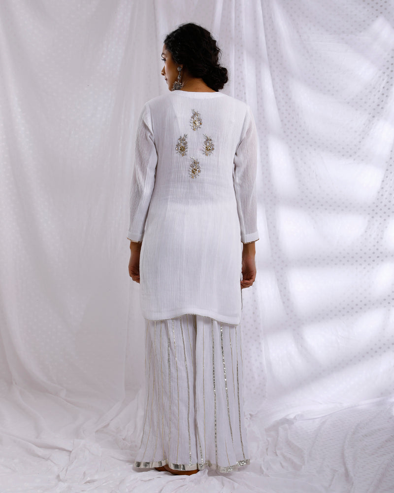 WHITE HAND EMBROIDERED KURTA WITH GOTA FLARED PALAZZO & DUPATTA SET OF 3
