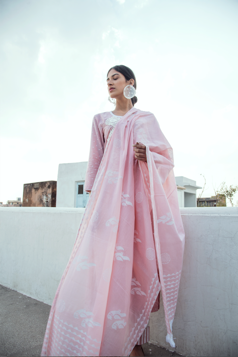 Lace Neck line with block printed Kurta and Straight palazzo - Set of 3 PALE PINK