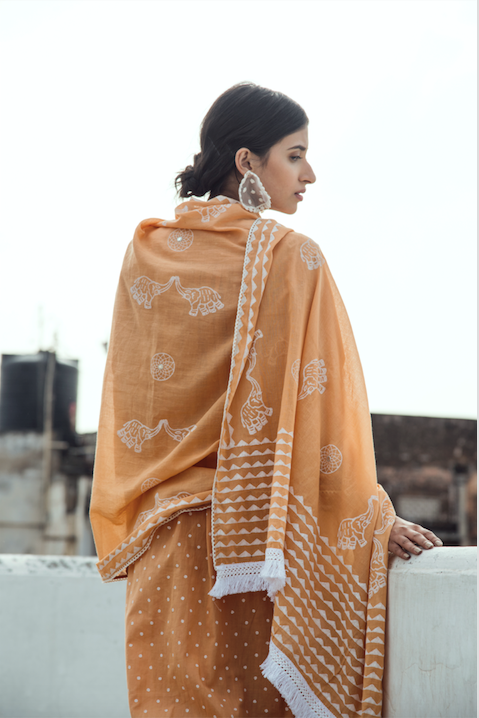 Lace Neck line with block printed Kurta and Straight palazzo - Set of 3 LIGHT ORANGE