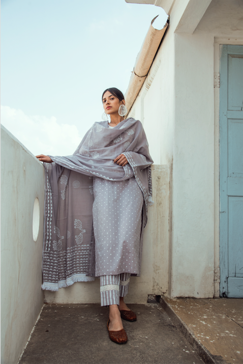 Lace Neck line with block printed Kurta and Straight palazzo Set of 3 - GREY