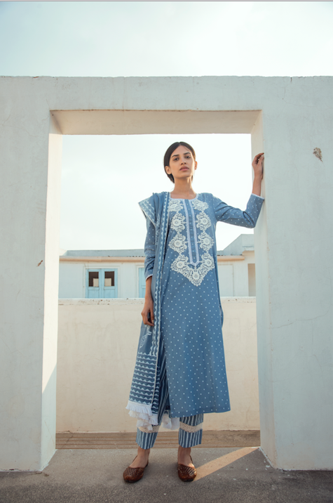 Lace Neck line with block printed Kurta and Straight palazzo Set of 3 - BLUE