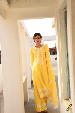 Yellow Lace Flared Palazzo & Kurta Set - Set of 3