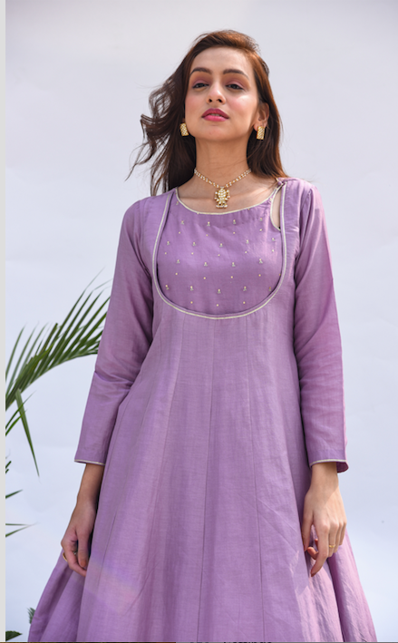 Embroidered Yoke Anarkali with Flared Palazzo - Set of 2 LILAC