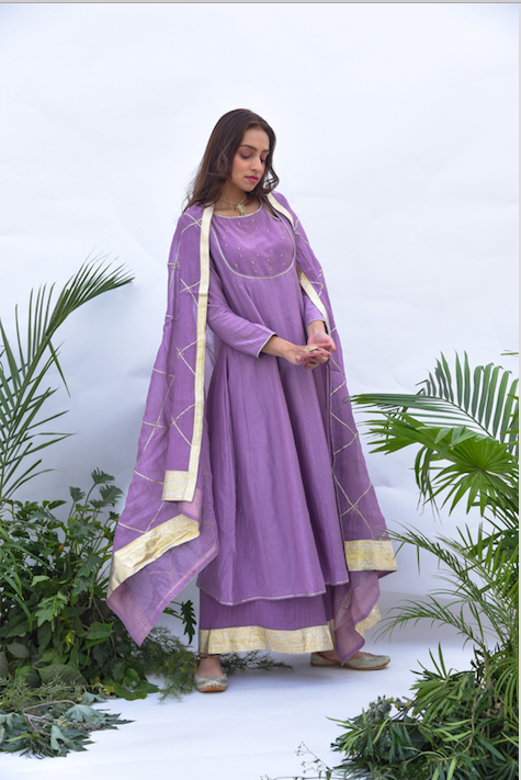 Embroidered Yoke Anarkali with Flared Palazzo and Gota Dupatta - Set of 3 LILAC