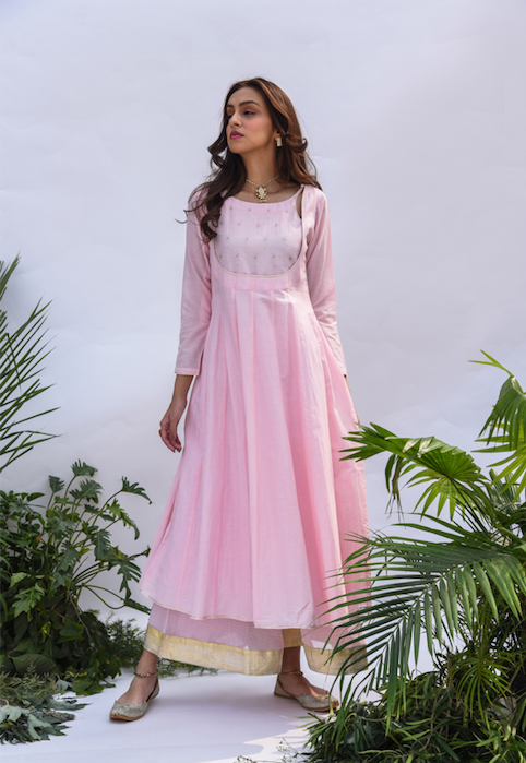 Embroidered Yoke Anarkali with Flared Palazzo and Gota Dupatta - Set of 3 PALE PINK