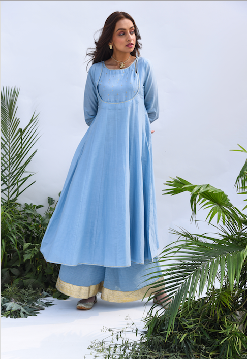 Embroidered Yoke Anarkali with Flared Palazzo and Gota Dupatta - Set of 3 POWDER BLUE