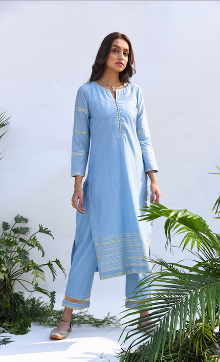 Straight Kurta with Embroidered Mughal Back Boota and Block Printed Chanderi Dupatta -  Set of 3 POWDER BLUE
