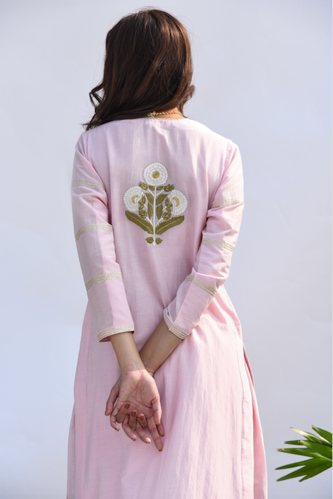 Straight Kurta with Embroidered Mughal Back Boota and Block Printed Chanderi Dupatta -  Set of 3 PALE PINK