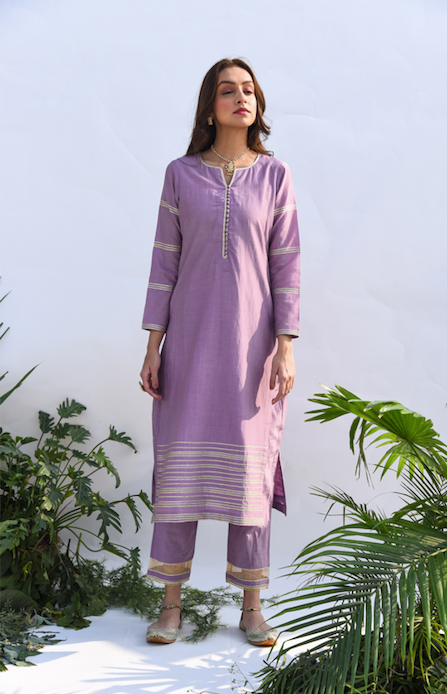 Straight Kurta with Embroidered Mughal Back Boota and Block Printed Chanderi Dupatta -  Set of 3 LILAC