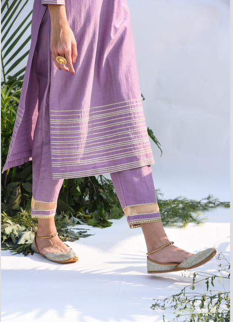Straight Kurta with Embroidered Mughal Back Boota  -  Set of 2 LILAC