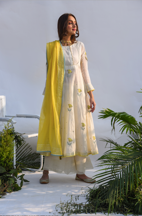 Chanderi Mirror Work with Flower Printed Anarkali with Flared palazzo and dupatta -Set of 3 CREAM WITH YELLOW