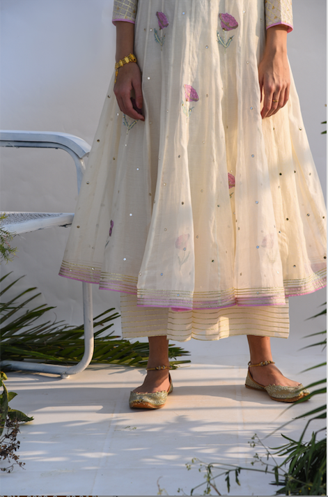 Chanderi Mirror Work with Flower Printed Anarkali with Flared palazzo -Set of 2 CREAM WITH PALE PINK