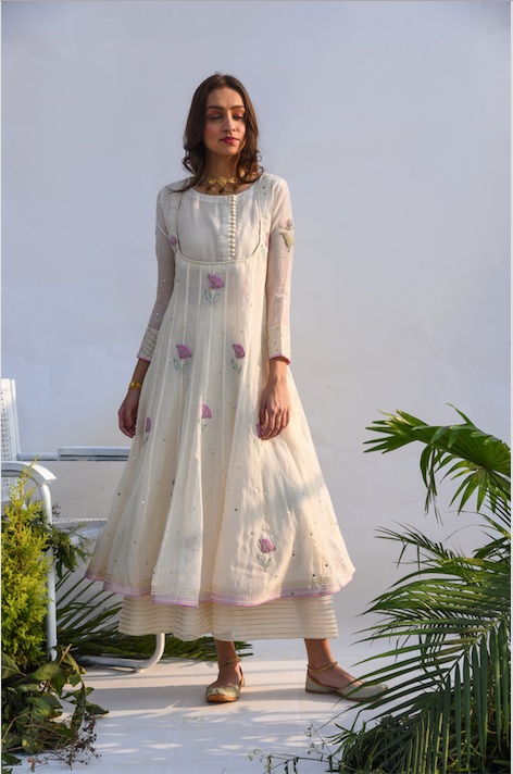 Chanderi Mirror Work with Flower Printed Anarkali with Flared palazzo and dupatta -Set of 3 CREAM WITH PALE PINK