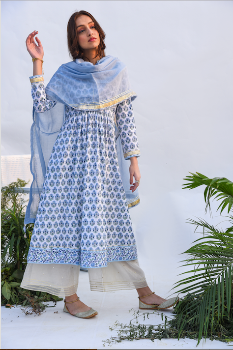 Jaal & Boota Block Printed Anarkali Kurta with Mirror Work Chanderi Flared palazzo and Chanderi Dupatta -  Set of 3 BLUE AND WHITE