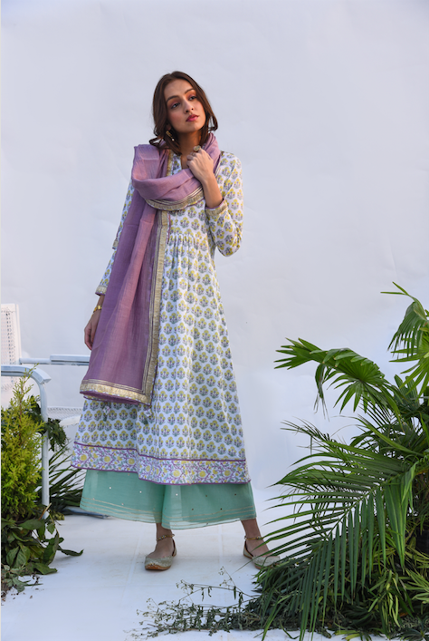Jaal & Boota Block Printed Anarkali Kurta with Mirror Work Chanderi Flared palazzo and Chanderi Dupatta -  Set of 3 Lilac and Green