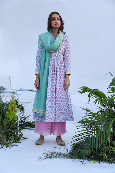 Jaal & Boota Block Printed Anarkali Kurta with Mirror Work Chanderi Flared palazzo and Chanderi Dupatta -  Set of 3  PINK AND GREEN