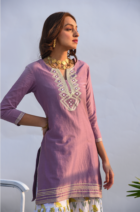 Lilac Kurta with Block Printed Sharara and Chanderi dupatta - Set of 3 LILAC KURTA WITH GREEN DUPATTA