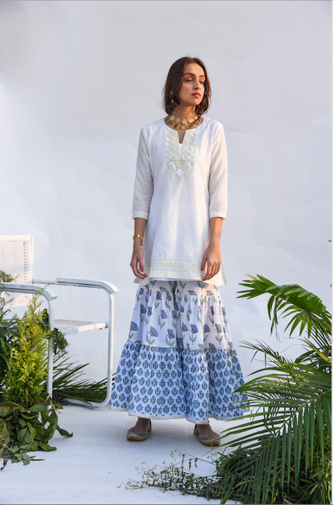 White Kurta with Block Printed Sharara and Chanderi dupatta - Set of 3 WHITE KURTA WITH BLUE DUPATTA