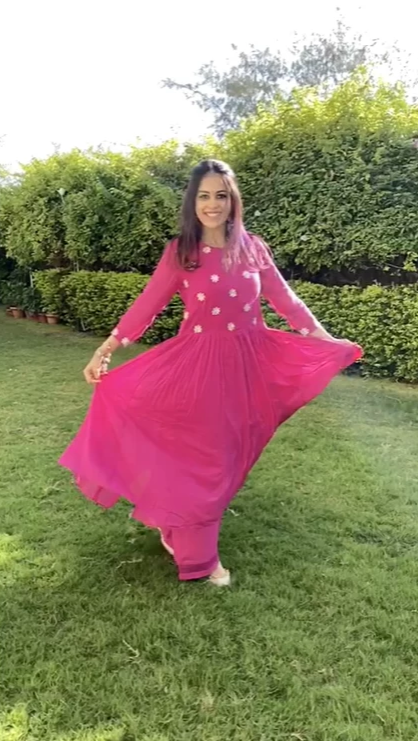 FLOWER GOTA YOKE GATHER DROP WAIST GATHER ANARKALI SET 0F 3  - RANI PINK
