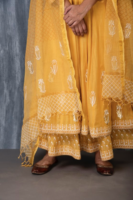 FOIL PRINTED KALI FLARED PALAZZO SET - MUSTARD YELLOW