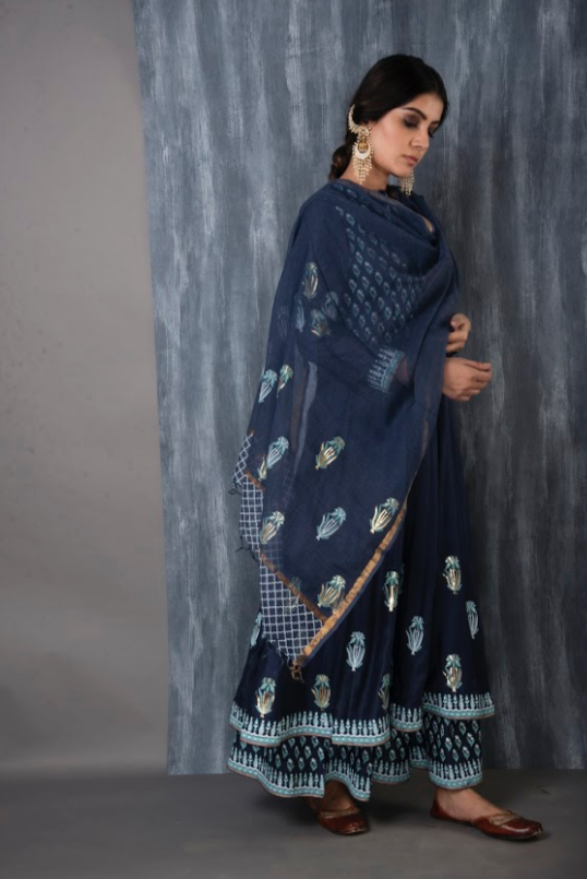 FOIL PRINTED KALI FLARED PALAZZO SET - MIDNIGHT BLUE