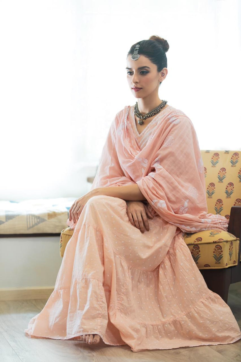 Pink Khari Block Print Anarkali Suit Set - Set of 3