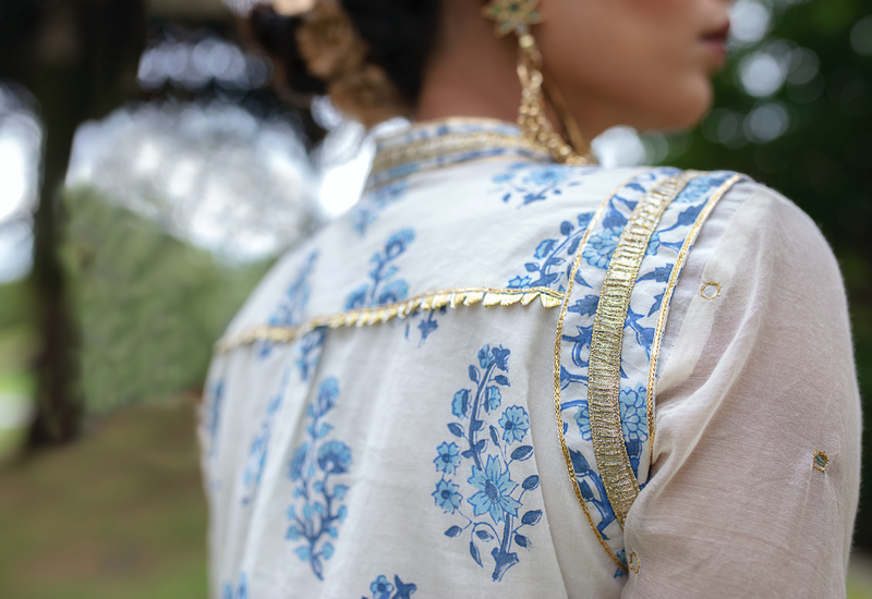 BLUE BLOCK PRINTED JACKET CHANDERI SHARARA SET OF 3