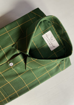 Olive Window Pane Checks