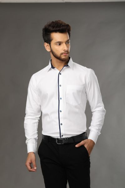 classic designer shirt crafted from premium cotton with detailing at collar and cuff for a rich look of shirt