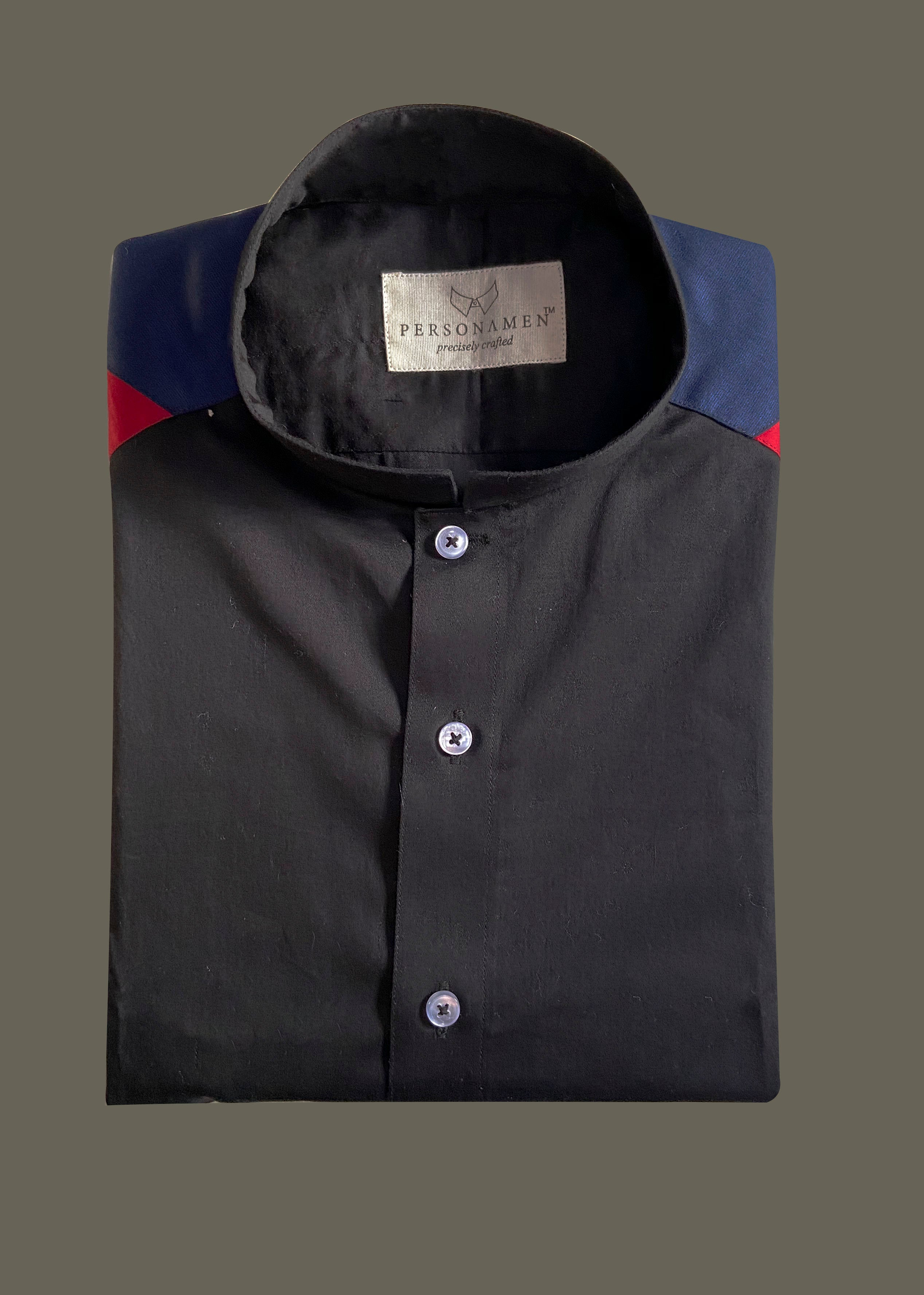 A perfect pick for your casual outing with friends pair this black casual shirt with indigo denims and white sneakers.