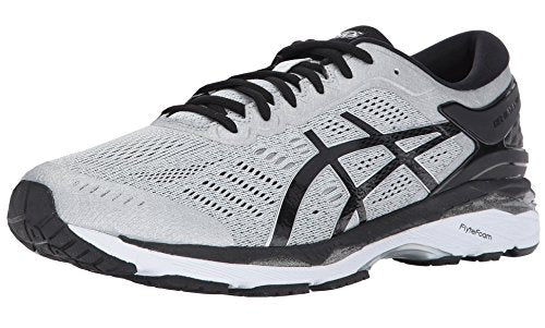 ASICS Men's Gel-Kayano 24 Running Shoe, Silver/Black/Mid Grey, 11 2E US