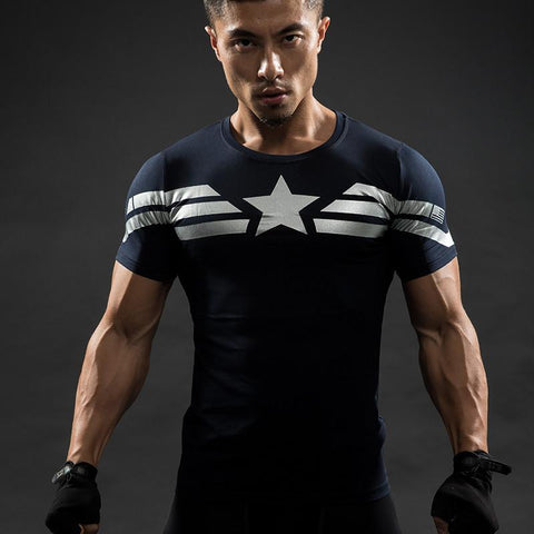 Captain America Compression Shirt ~ Blue