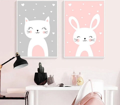 Kawaii Nursery Wall Art Canvas
