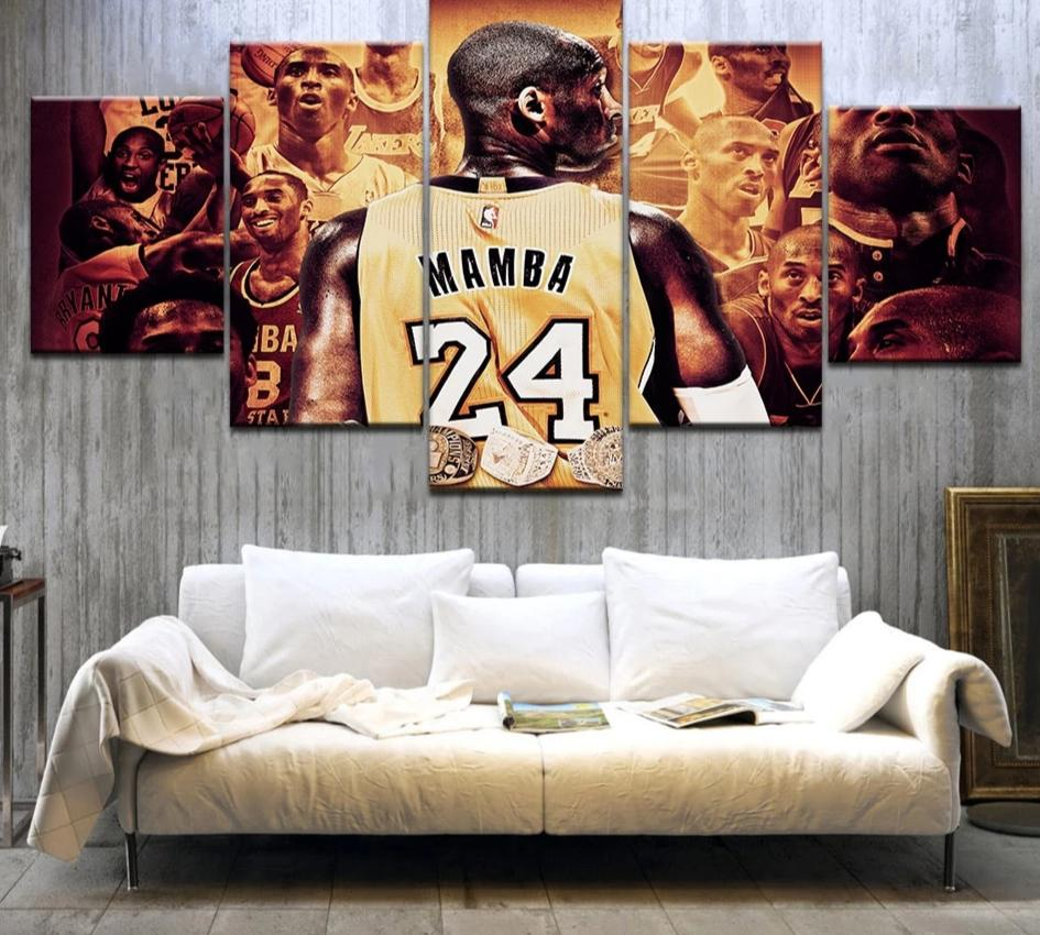 5 Piece Kobe Bryant Black Mamba Wall Art Canvas Modernluxeco