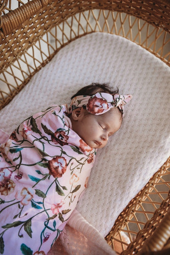Pansy Heart/ Snuggle Swaddle & Top Knot Set