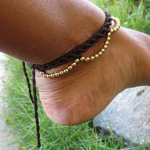 Hippie Tassel Anklet - Dark brown